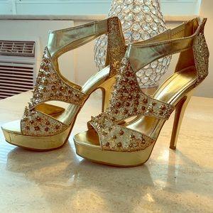 Gold Glitter Spiked High Heels | Sz 8 1/2